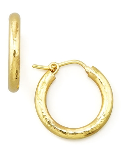 Elizabeth Locke - Small Hammered Gold Hoop Earrings