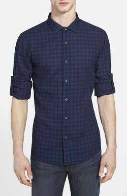 Michael Kors  - Slim Fit Check Cotton & Linen Sport Shirt