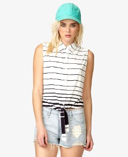 Forever 21 - Striped Tie-Front Knit Shirt