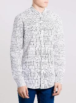 Topman - White Cross Print Long Sleeve Smart Shirt