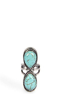Boohoo  - Night Jade Double Stone Ring