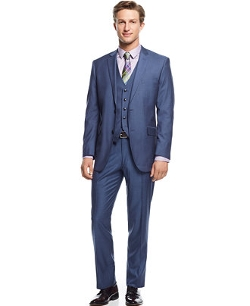 Perry Ellis - Blue Sharkskin Vested Slim-Fit Suit