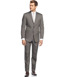 Calvin Klein  - Grey Pindot Slim Fit Notch Lapel Suit