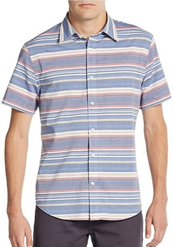 Saks Fifth Avenue  - Modern-Fit Striped Woven Sportshirt