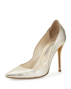 Oscar De La Renta - Crinkled Metallic Leather Pumps