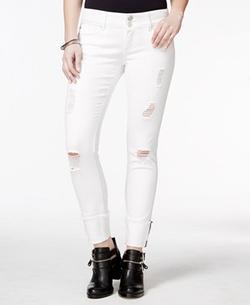 Indigo Blue - Ripped Selvedge Cuffed Skinny Jeans