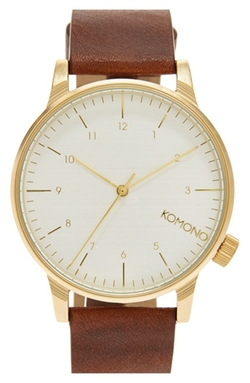 Komono  - Winston Round Dial Leather Strap Watch