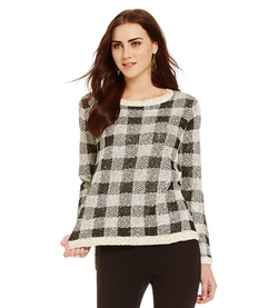 Cremieux  - Adela Sequin Plaid Hi-Low Sweater