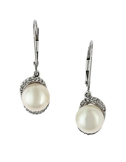 Effy - White Pearl, Diamond and White Gold Drop Earrings