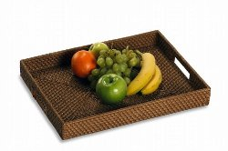 CC Home Furnishings - Handwoven Rattan Serving Tray