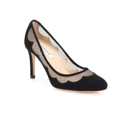 L.K. Bennett  - Elizabeth Scalloped Suede & Lace Pumps
