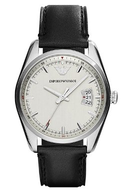 Emporio Armani  - Round Leather Strap Watch