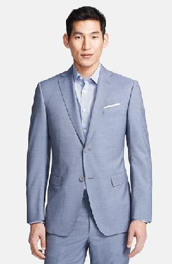 Z Zegna  - Trim Fit Blue Stripe Wool Suit