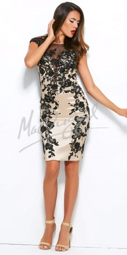 Mac Duggal - Floral Lace Sheath Cocktail Dress