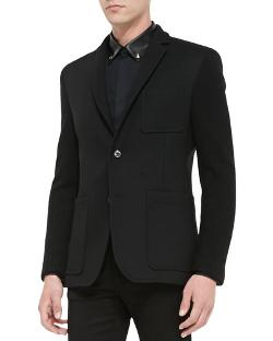 Versace Collection	 - Two-Button Blazer with Knit Sleeves