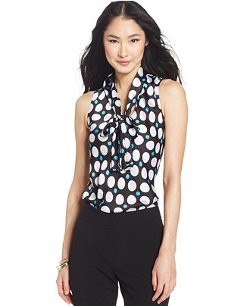 Nine West - Sleeveless Tie-Neck Dot Print Blouse