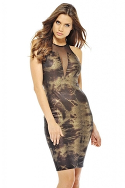 Ax Paris - Metallic Snake Mesh Midi Dress
