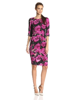 Tracy Reese - Fuschia Mums-Print Dress
