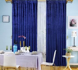 Benzara - Blue Velvet Window Curtain Drape