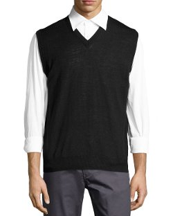 Neiman Marcus  - Wool-Blend Sweater Vest