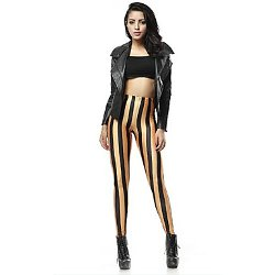 Light In The Box  - Gold Vertical Stripes Printed Pencil Legging Pants