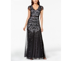 Adrianna Papell  - Cap-Sleeve Embellished Gown