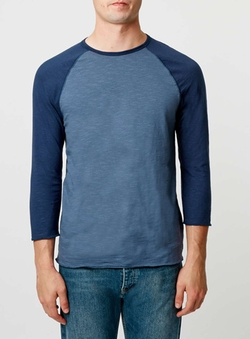 Topman - Denim And Navy Raglan T-Shirt