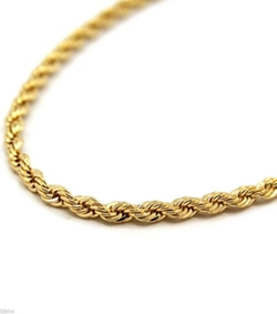 Rope Chain - Mens 18k Yellow Gold Filled Inches Rope Chain Necklace