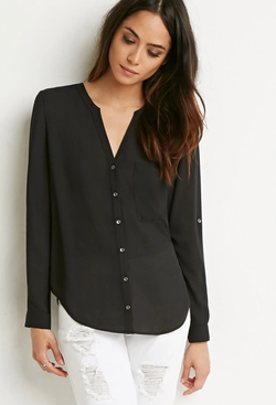 Forever 21 - Chiffon Pocket Blouse
