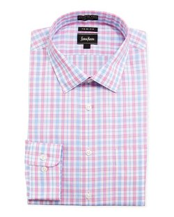 Neiman Marcus  - Trim-Fit No-Iron Plaid Dress Shirt