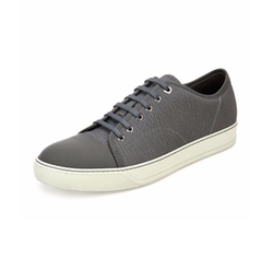 Lanvin - Textured Leather Low-Top Sneakers