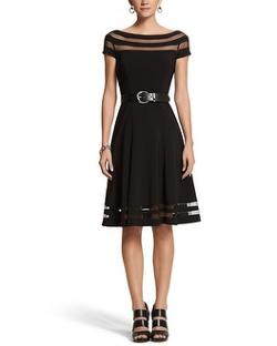 White House Black Market - ILLUSION STRIPE FIT & FLARE DRESS