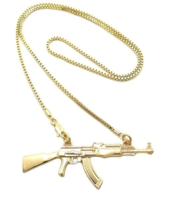 NYfashion101  - Gold Tone Machine Gun Pendant Necklace