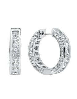 Crislu  - Fine Diamond Platinum Hoop Earrings
