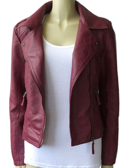 Vikoro - Faux Leather Zipper Biker Moto Jacket