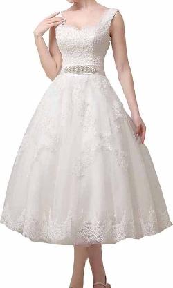 KHCF - Tea Length Straps Laced Wedding Dress