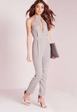 Missguided - Lace Choker Split Front Jumpsuit