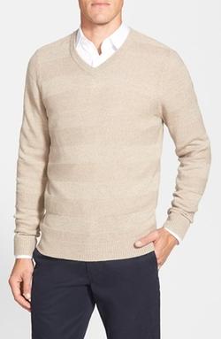 Nordstrom - Stripe V-Neck Wool Sweater