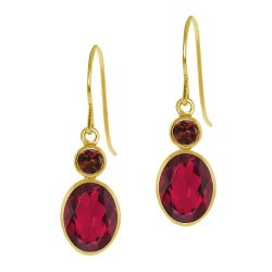 Gem Stone King - Oval Ruby Red Mystic Topaz Red Garnet Earrings