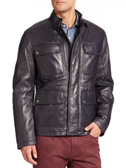 Saks Fifth Avenue Collection  - Four-Pocket Leather Jacket