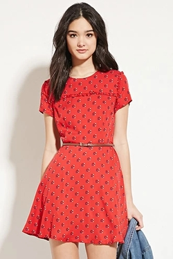Forever 21 - Abstract Geo-Print Skater Dress