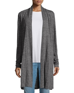 Eileen Fisher - Speckle Knit Draped Long Cardigan
