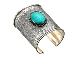 M&F Western - Turquoise Clay Stone Large Cuff Bracelet