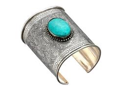 M&F Western - Turquoise Clay Stone Large Cuff Bracelet