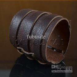 Fubusite - Men Bracelet Real Leather Wristband Wide Cuff 3-Buckles Brown
