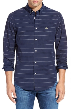 Lacoste - Trim Fit Stripe Poplin Woven Shirt