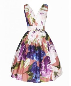Chicnova - Western Retro Style Floral Sleeveless Print Dress