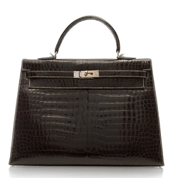 Hermes - Black Crocodile Kelly Silver Stitching Tote Bag