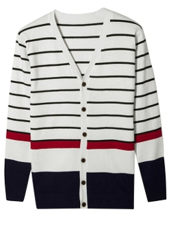 Uxcell - Long Sleeve Stripes Cardigan