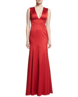 Lela Rose  - Sleeveless Plunging-Neck Gown